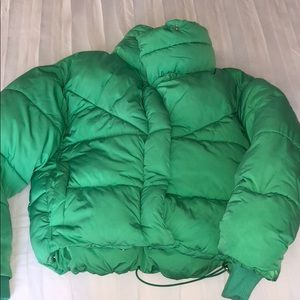 Topshop kelly green puffer jacket